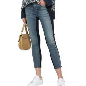 Current Elliott two-tone mid-rise skinny jeans